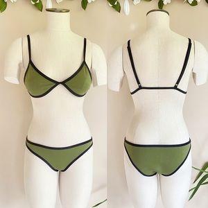 Hoaka Swimwear Neoprene 'Daph Khaki' Bikini Set